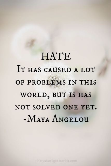 Hate is not worth it.
